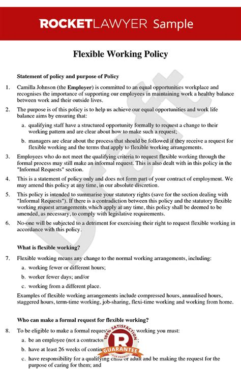flexible working policy create  flexible working