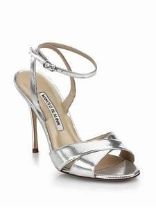 Manolo blahnik Orlana Metallic Leather Ankle-strap Sandals ...