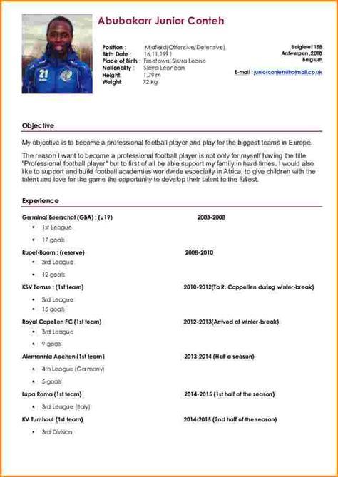 Exemples De Cv Professionnel by 14 Exemple De Cv De Footballeur Professionnel Bellyta