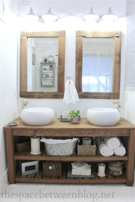 rustic bathroom vanity and mirrors so many great details