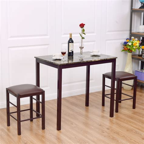 bar height kitchen table sets 3 pcs counter height dining set faux marble table 2 chairs