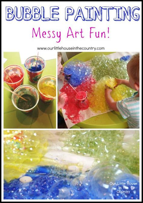 bubble painting  straws indoor messy art fun