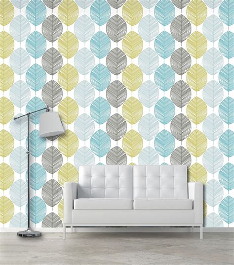 leafs self adhesive vinyl temporary removable wallpaper