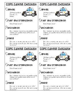 cops editing checklist   newmans necessities tpt