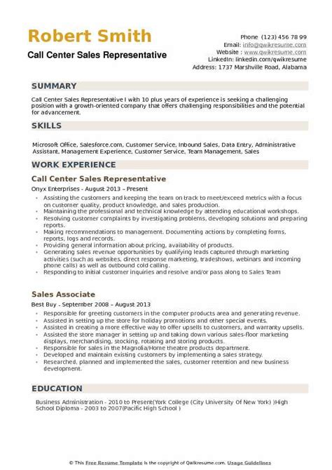 call center sales representative resume samples qwikresume