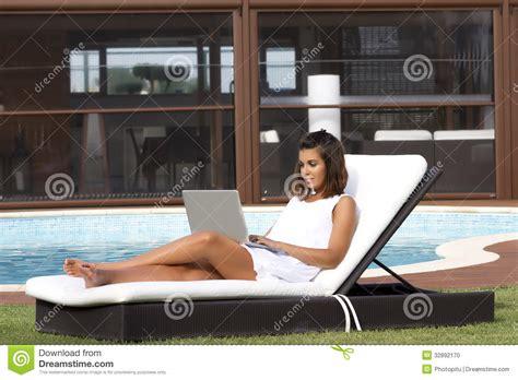 sunbathing  working stock photo image