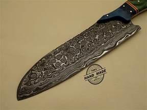 pics photos handmade damascus knife kitchen knife amercan deer antler handle