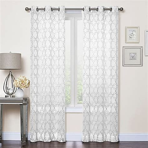 Callahan Embroidered Grommet Top Sheer Window Curtain