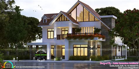 european style sloping roof  bhk house kerala home