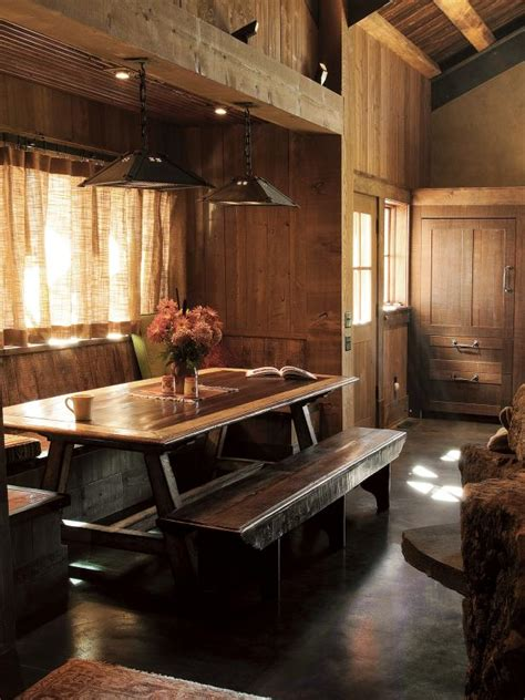 banquette seating meets picnic table  rustic style