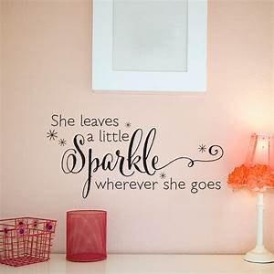she leaves a sparkle wall quotestm decal wallquotescom With perfect reflective wall decals ideas to sparkle your rooms