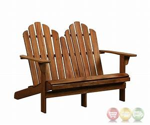 Adirondack Outdoor Teak Double Bench With Solid Wood