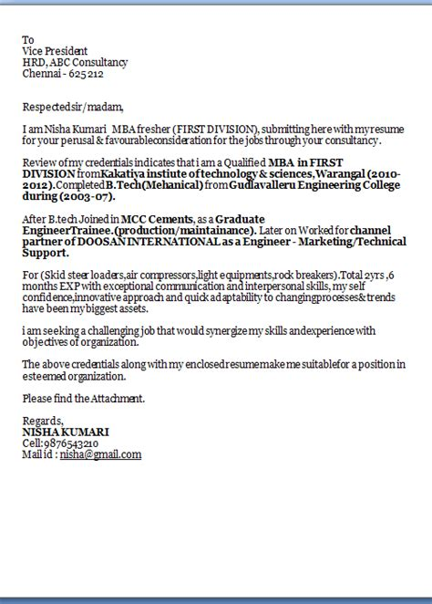 Cover Letter For Curriculum Vitae Exles by Cv Cover Letter Exle