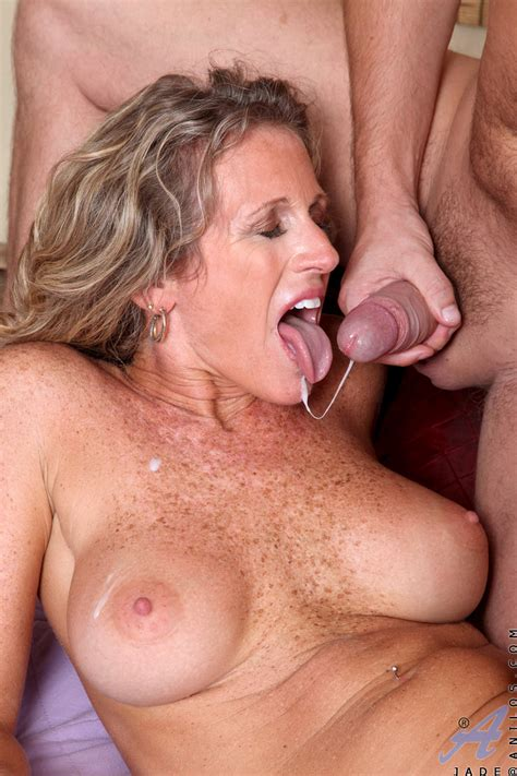 freckled milf slut with big tits jade rides a cock and swallows a load