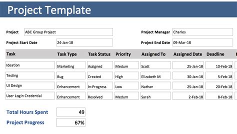 project tracking template  excel project tracking