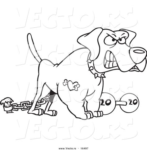 vector   cartoon guard dog   dumbbell outlined coloring page drawing  toonaday