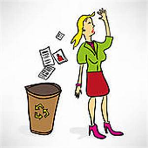 Clip Art of A woman throwing a portfolio in the trash ...