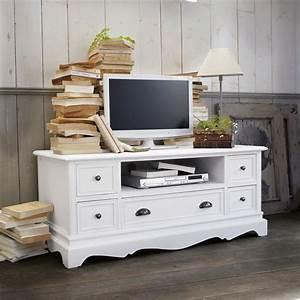 mueble de tv blanco de madera de paulonia an 117 cm With meuble tv josephine maison du monde