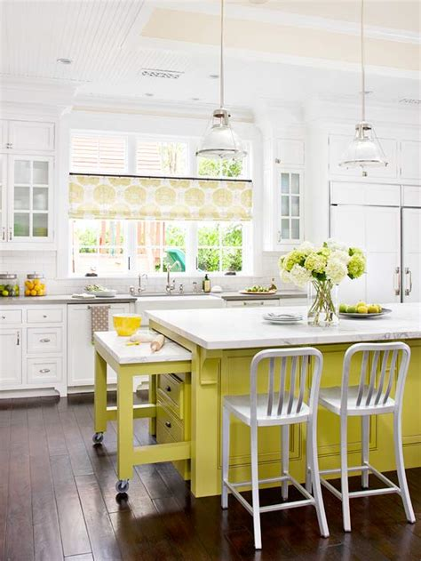 yellow kitchen table and yellow kitchen islands