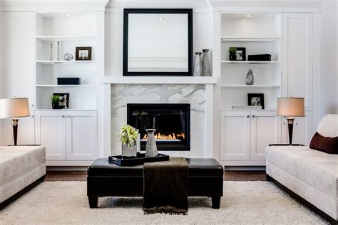 image of tile fireplace surround fireplace built ins living room transitional with gray