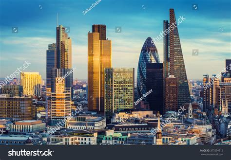 Bank District Central London Famous Skyscrapers Stock