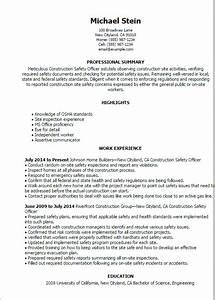 #1 Construction Safety Officer Resume Templates Try Them Now MyPerfectResume