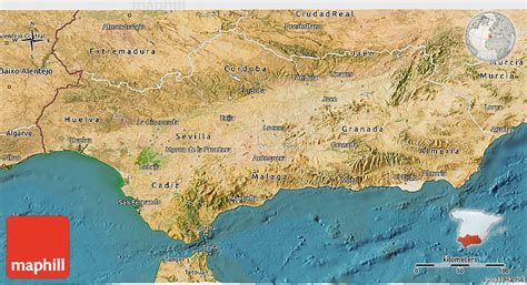 map andalucia 3d satellite spain east north west maps