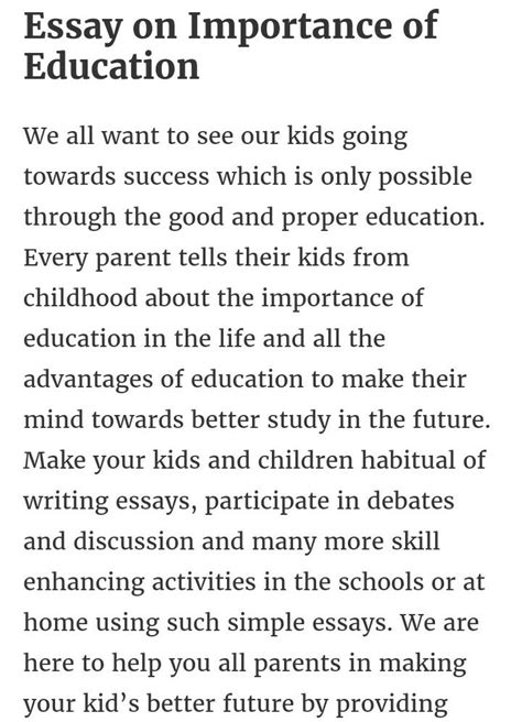 write  essay    words  importance  education