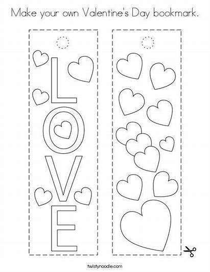 Coloring Valentine Own Valentines Twisty Noodle Bookmark