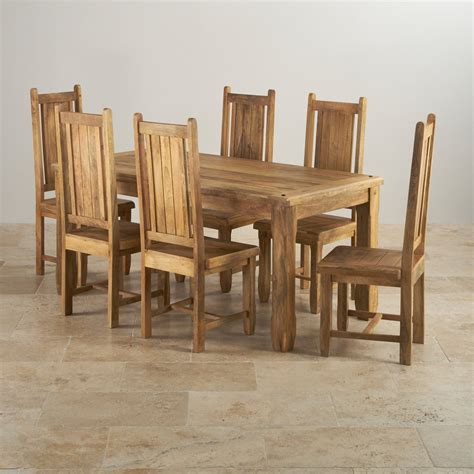 wooden dining table and 6 chairs baku light dining table in natural mango 6 mango chairs