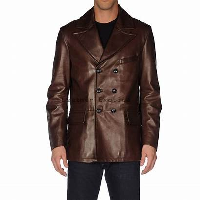 Leather Blazer Breasted Double Sleeves Blazers Leatherexotica