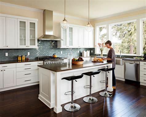 brown glass tile backsplash Kitchen Transitional with