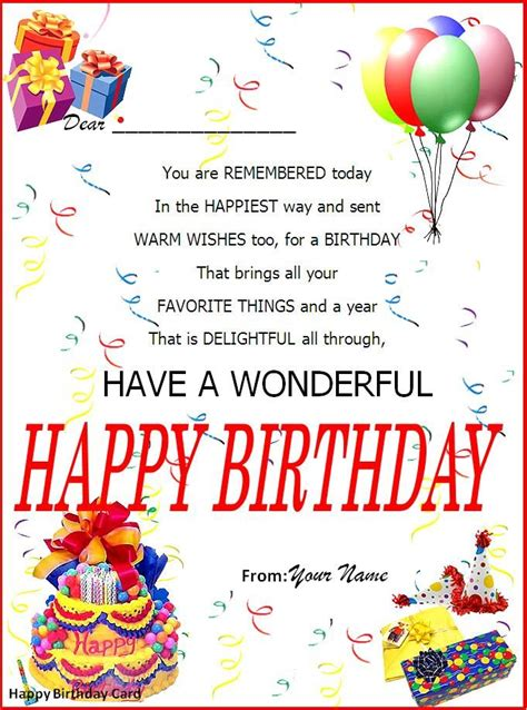 birthday card word template   birthday card