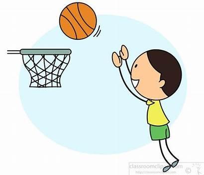 Basketball Clipart Playing Boy Hoop Jumping Sports
