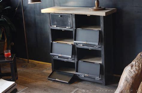 classement bureau meuble 8 clapets métal style industriel sur mesure