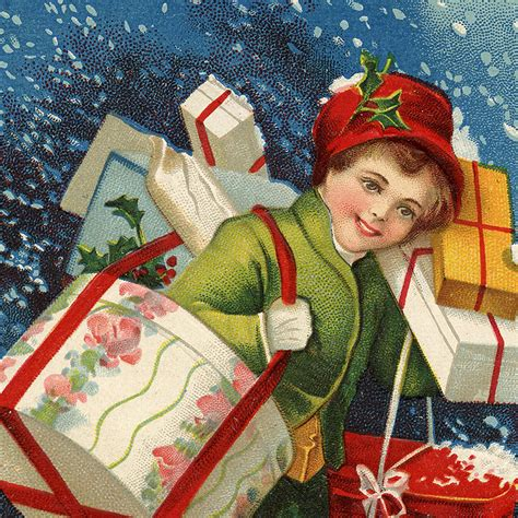 nostalgic child carrying christmas presents graphic