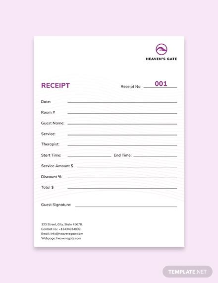 massage receipt template word excel psd indesign