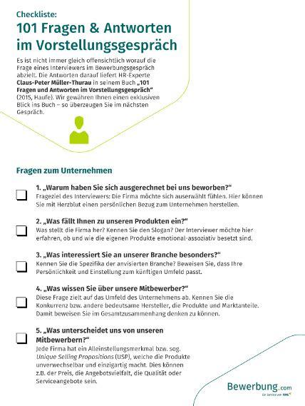 checkliste fragen im vorstellungsgespraech