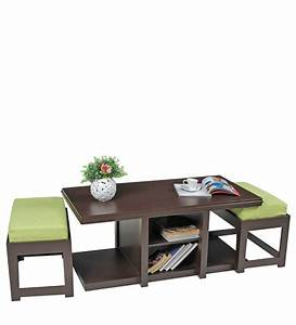rectangular coffee table with green cushioned stools by With rectangular coffee table with stools