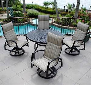 Backyard creations 5 piece sanibel dining collection at for Deck furniture covers menards