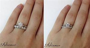 how do people like to wear wedding bands adiamor With solitaire ring with diamond wedding band