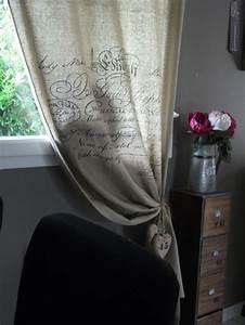 Rideau Toile De Jute : rideaux photo 20 26 rideau en toile de jute avec critures j 39 ai ~ Teatrodelosmanantiales.com Idées de Décoration