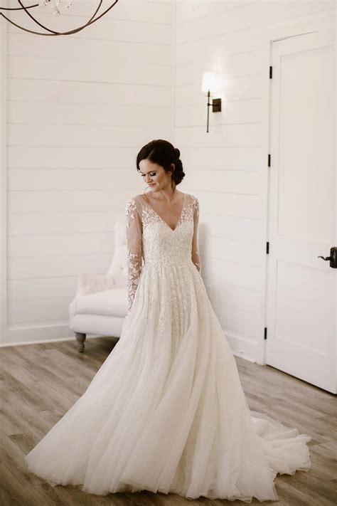 Long Sleeve V-Neck Ivory Tulle Wedding Dress With Illusion ...