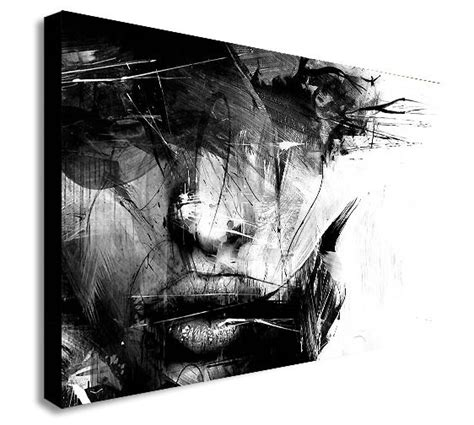 Abstract Faces Black And White by Abstract Black And White Canvas Wall Print