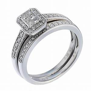 9ct white gold half carat diamond bridal ring set hsamuel for Samuels wedding rings