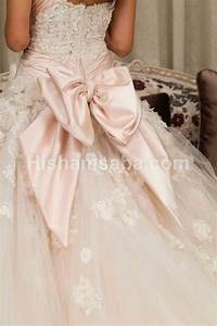 bow wedding gown baxk a pale pale pink wedding dress With bow wedding dress