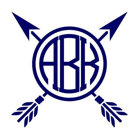 arrow monogram frame svg cuttable designs
