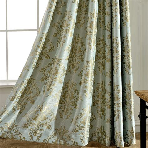 gold damask  mint green affordable jacquard curtains