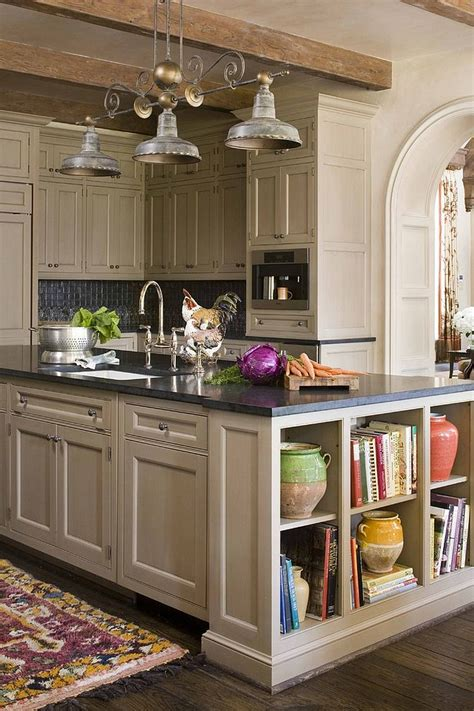 kitchen island with open shelves open shelves add a fabulous display to the kitchen island