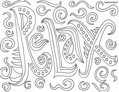 Coloring Printable Doodle Alley Word Words Mindfulness